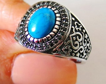 MEN RING 925 STERLING silver 925 rare turquoise #392