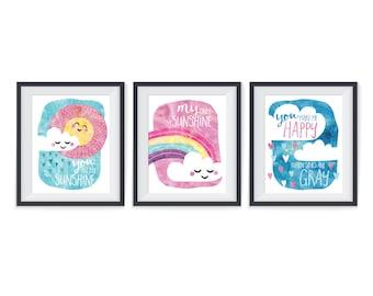 You are my sunshine - Instant download printable art - Baby nursery decor - Kids room art - Nursery wall print