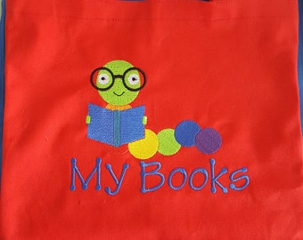 Personalized Kids Tote Bag - Book Worm Boy