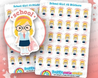 30 Cute School Girl #3 Planner Stickers, Filofax, Erin Condren, Happy Planner,  Kawaii, Cute Sticker, UK