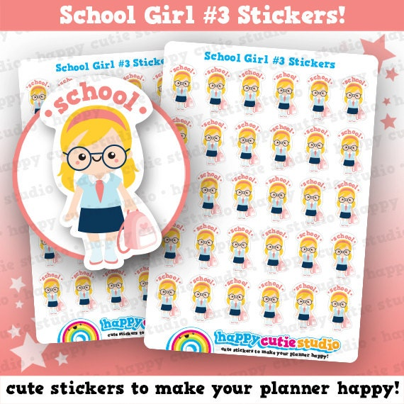 30 Cute School Girl Planner Stickers Filofax Erin Condren