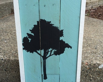 Framed tree wood art made from reclaimed wood