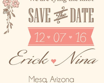 Classic & Elegant Save the Date 5x7in, Printable Digital File, Invitation Card, Custom Colors
