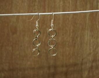 Silver 3 flower earrings