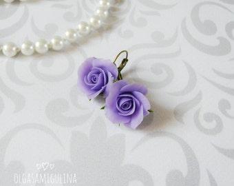 Purple rose earrings handmade, polymer clay earrings, flower earrings, realistic flower earrings, clay rose