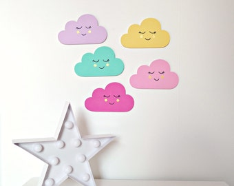 Sleepy Face Clouds  - Set of 5 Wooden Cloud Wall Decorations, Wall Art