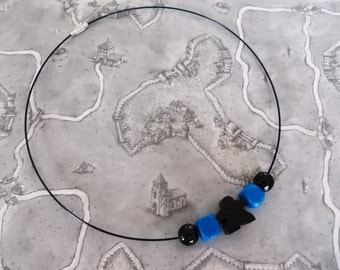 Geeky necklet with meeple of Carcassonne, Black, Board Game