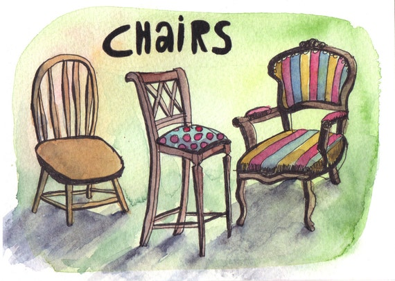 Chairs - Pen and Watercolour Painting