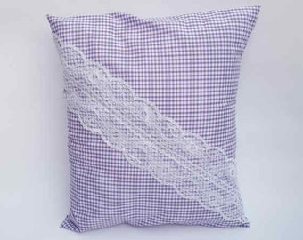 White & Lilac Gingham Lace Envelope Cushion Cover Handmade Check Shabby Chic