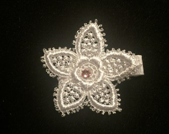 Flower Venise Lace Hair Clip with Swarovski Crystal