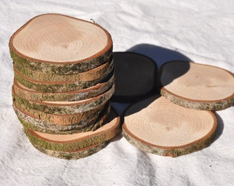 3 inch wood slices X 20, cedar wood rounds with rustic bark, wood slices, tree slices, rustic wedding wood slice, rustic decor