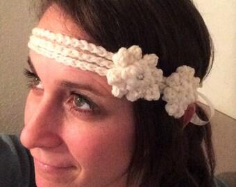 Double Flower with Pearl Crochet Headband Ribbon Tie