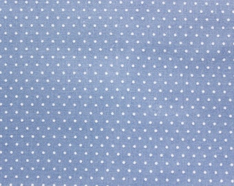Polka dot Fabric, Quilting Fabric, Cotton Fabric, Dusty Blue, Tiny Dots, Sand, Patchwork Quilting Sewing Materials, Wide, Half Metre