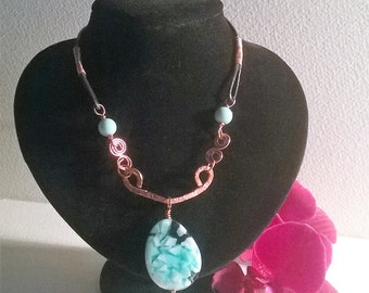 turqoise / copper and leather necklace