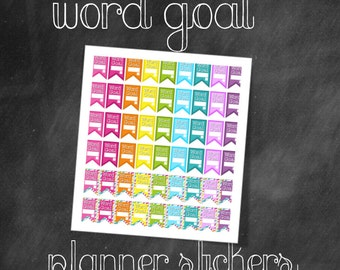 Rainbow Pop Word Goal Flag Printable Planner Stickers for Writers
