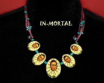 Frida Kahlo Vintage Necklace, Mexican Tehuana Frida Kahlo Jewerly, Handmade Unique Frida Kahlo Necklace, Decoupage Technique