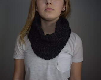 Hand Knitted Large Cowl / Coal