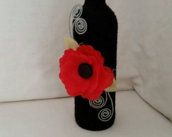 Custom twine wrapped wine bottle with red poppy / upcycled bottle/ string covered / bud vase / candle holder / ornamental / home decor