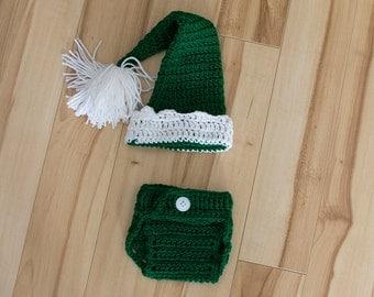 Crochet 2pc Newborn Elf Costume,  elf photo prop, newborn elf costume, baby elf costume, baby elf photo prop, newborn elf photo prop,