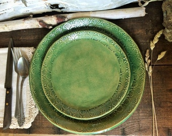 Rustic Dinnerware Set ~ Dinner Plate & Appetizer/Dessert Plate ~ Handmade Vermont Pottery ~ Made in USA