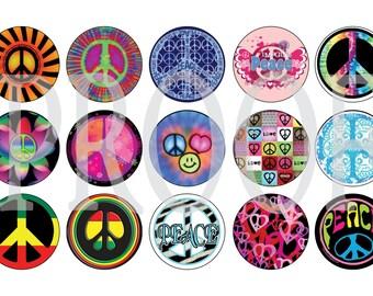 Digital Bottle Cap Image Sheet - Peace Sign - 1 Inch Digital Collage - Instant Download