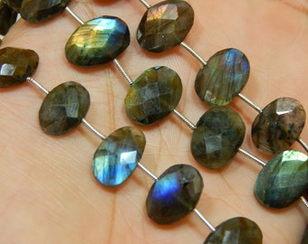 """8""""Inches Labradorite Blue Flash Faceted Beads Oval Shape 10x15 To 11x16 mm Approx"""