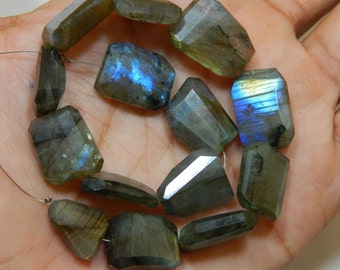 Gemstone Labradorite Blue Flash Faceted Rough Beads Fancy Shape 12x14 To14x18 mm Approx
