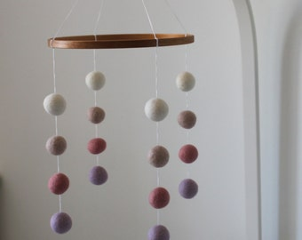 Felt ball cot mobile 'The Pink one'