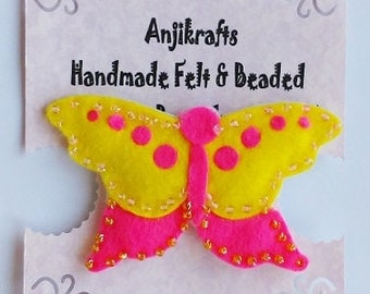 Butterfly brooch - pink & yellow