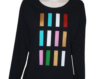 "Black T.shirt, woman, ""vest-e-bubble"" with long sleeves, size 44-46."