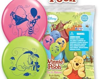 Winnie the Pooh Happy Birthday Balloons Plus 6 Matching Latex