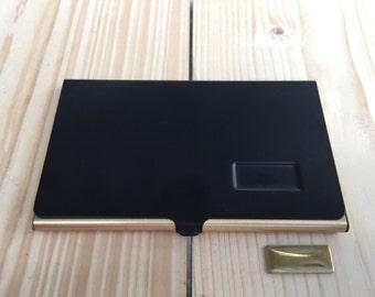 Business card holder, BLACK Business card case, Vintage business card holder
