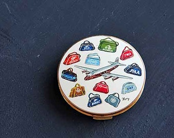 """Stratton Jet liner 1950's powder compact, signed """"Kory""""vintage 1950's travel theme compact, belonged to my grandmother"""
