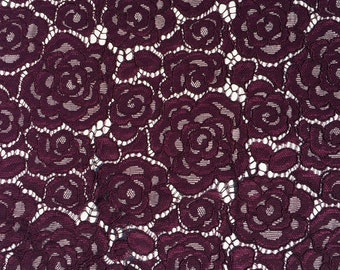 Aubergine purple lace fabric