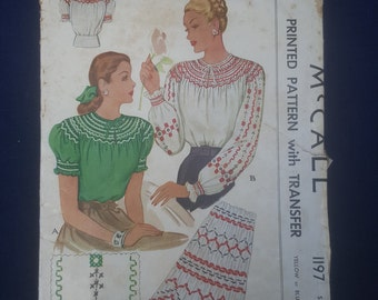 1945 Misses smocked blouse pattern McCall 1197 Size Small