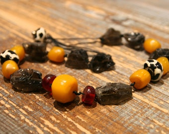 Necklace with smoky quartz rough, bone painting and Copal/skewer with cotton string