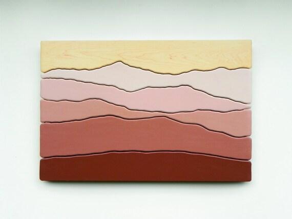 Mountain View, Wood Wall Art, Wall Decoration, Modern Wood Design, Wall Art, Modern Decor, Mountain art, Ridge, Hiking Gift