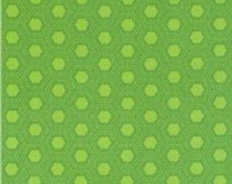 SALE Fabric - RJR Fabrics - Jungle Things Hexies Lime - Cotton fabric by the yard (last yard)