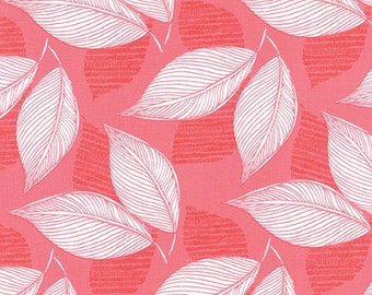 Moda Fabric  - Aria by Kate Spain - Stock #27233 - A Garden of Butterflies Fluttering By - Pink Leaves - Cotton fabric by the yard