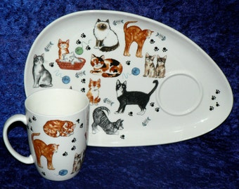 Cat Cats kittens snack plate & mug.  Mug and plate set