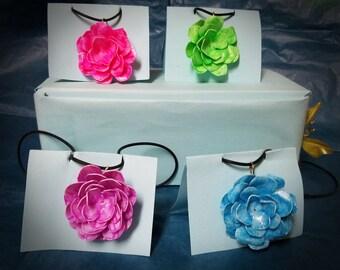 Milk jug rose necklaces- glow in the dark
