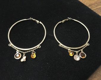 Vintage Hoop Earings, Goldtone, Browns, Crystal like