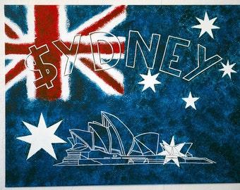 Painting Sydney handmade on board - handmade from France