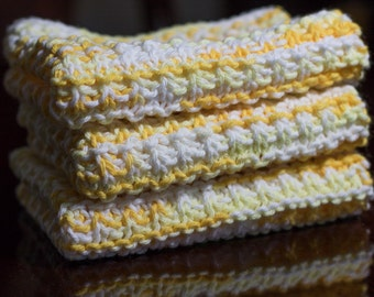 Hand Knit Dishcloth Set - Hand Knit Washcloth - Yellow/White Mix