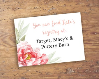 Custom Pink Peonies Baby or Bridal Shower Registry Insert Card- Small Size Card Pink Floral Peony- Printable- Digital File