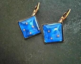 Night square earrings