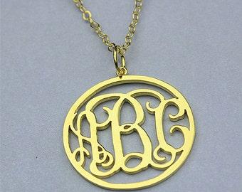 Circle monogram necklaces, circle monogram pendant necklace, personalized monogrammed necklace, gold monogram necklace, circle initial