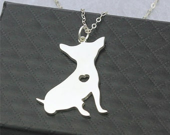 Chihuahua Necklaces, custom engraved necklace, dog pendant necklace, personalized engraved pendant necklace, sterling silver dog necklace