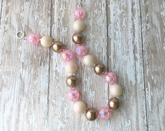 Bubblegum Necklace - Kids Jewelry - Chunky Necklace - Pink and Brown Necklace -Christmas Gift for Little Girls - Little Girls Necklace