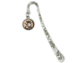 Big Sis Sister Love Hearts Book Bookmark with Antiqued Charm
